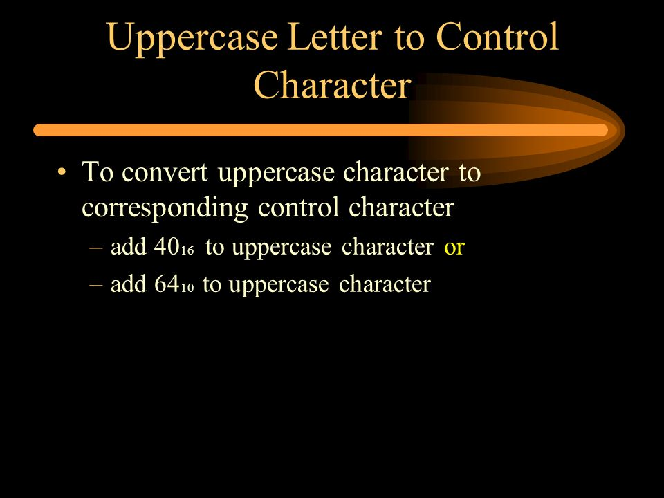 Uppercase Letter to Control Character