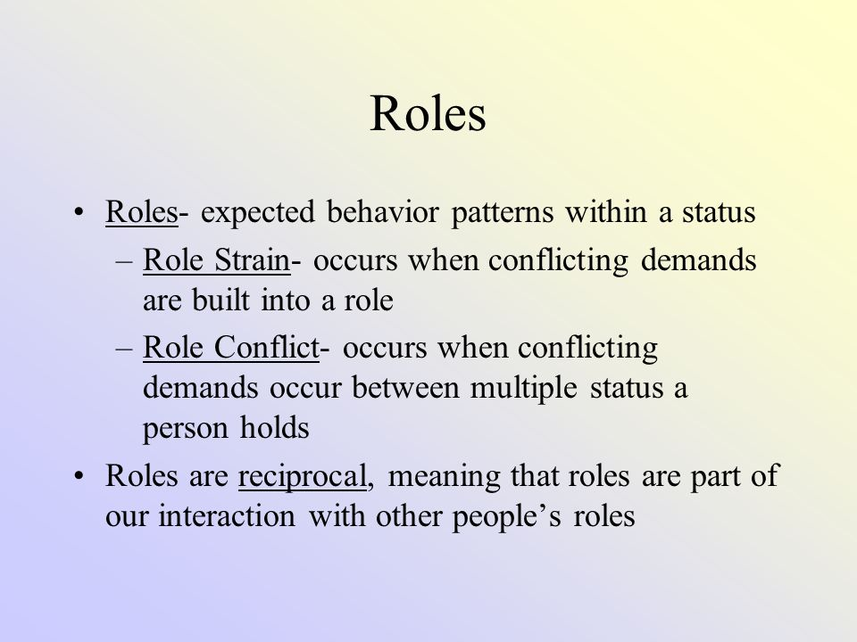 Roles Roles- expected behavior patterns within a status