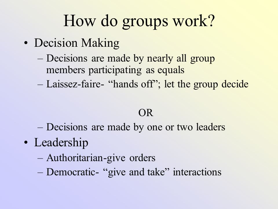 How do groups work Decision Making Leadership