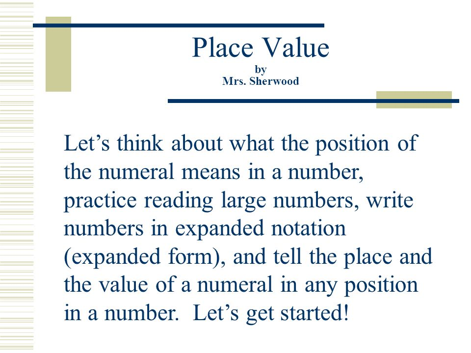 Place Value By Mrs Sherwood Ppt Video Online Download