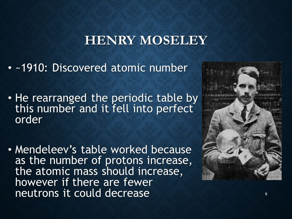 Periodic table chapter ppt video online download henry moseley 1910 discovered atomic number urtaz Gallery