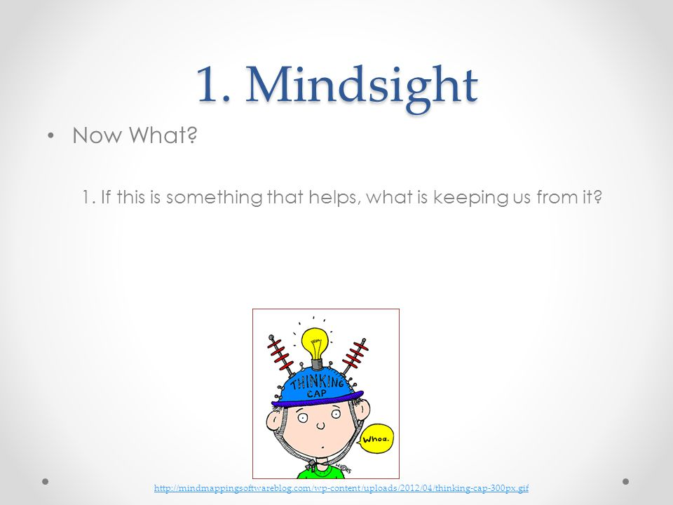 1. Mindsight Now What 1. If this is something that helps, what is keeping us from it