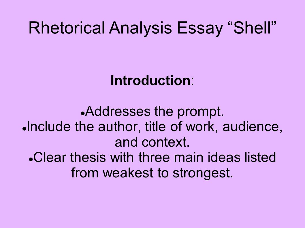 introduction to rhetorical analysis essay How to write the lld/engl 100a rhetorical analysis essay in a rhetorical analysis essay, the purpose of the introduction is to provide information about.