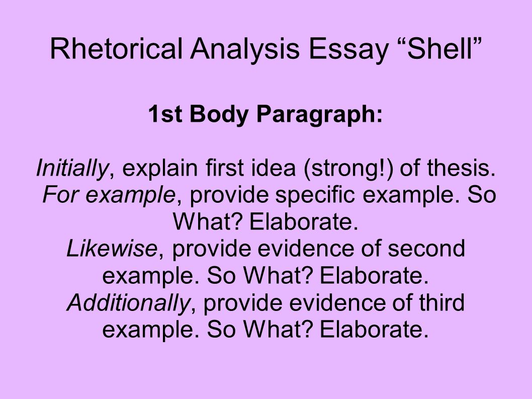 First body paragraph for analyse essay