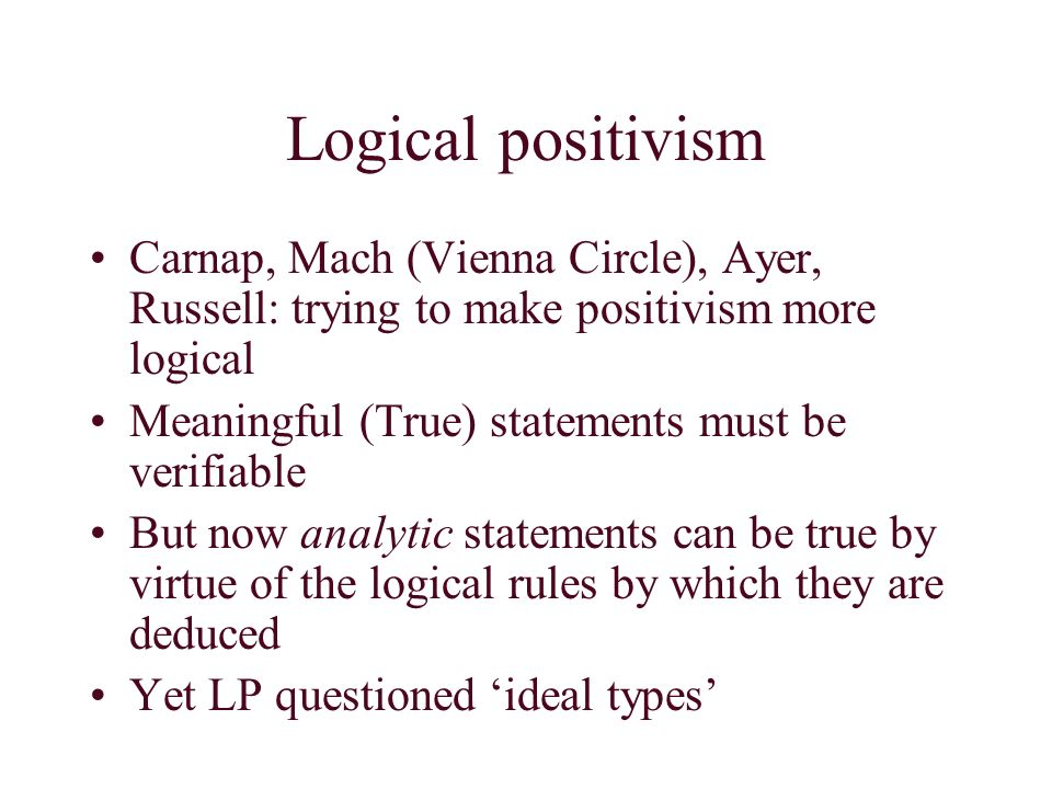 logical positivism On logical positivism by susan j fleck march, 1994 during the 1920's and  1930's, logical positivism was a revolutionary and powerful force in philosophy.