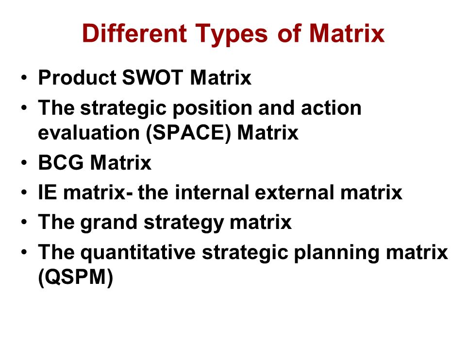 Swot matrix space matrix bcg matrix ie matrix and grand strategy matrix similar