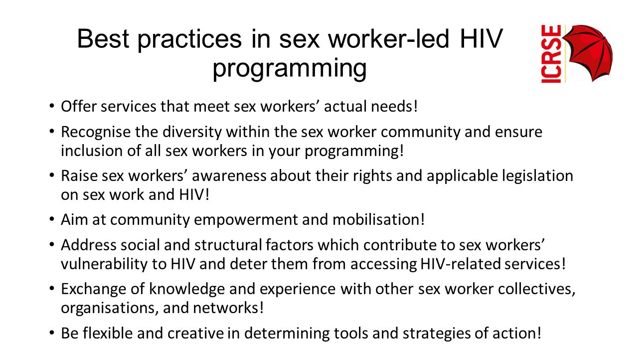 Best practices in sex worker-led HIV programming