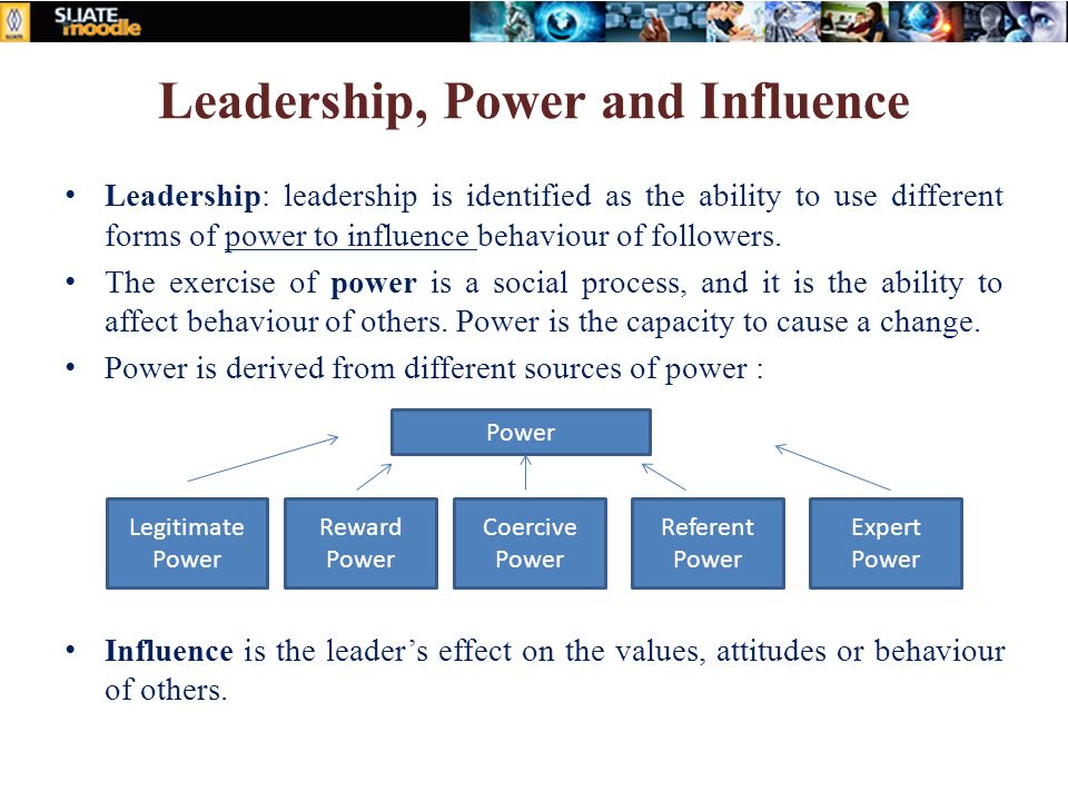 affect of power and influence on leadership Let's explore french and raven's bases of power in two and maintain expert power, and to improve your leadership who have power and influence over.