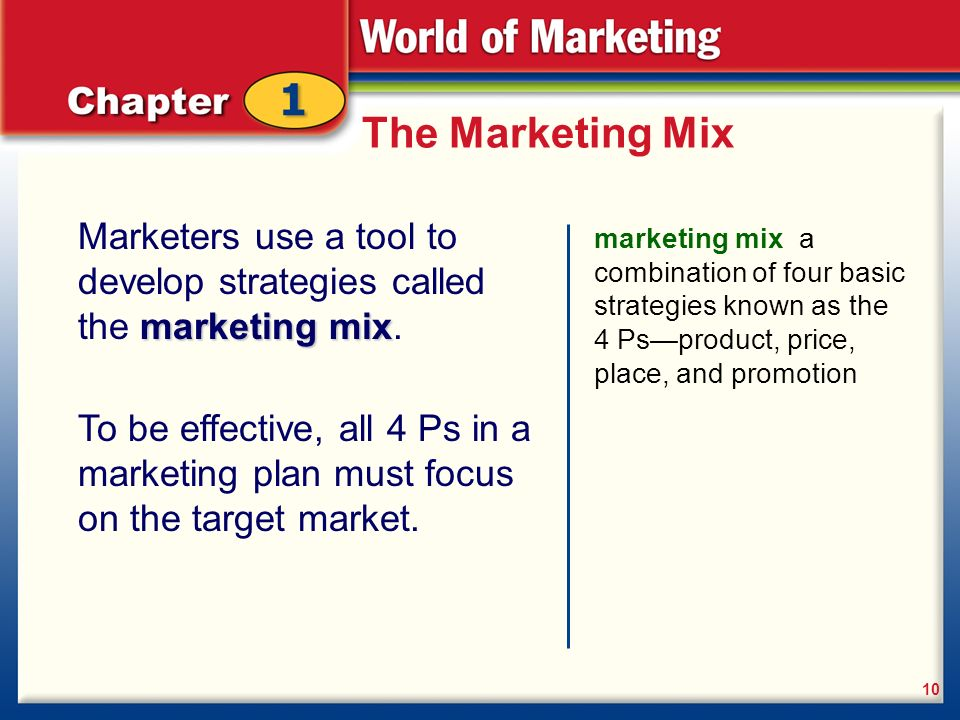 a description of the term marketing mix used to describe all the options available to the marketing  The marketing mix, as part of the marketing strategy, is the set of  that a  company uses to produce a desired response from its target market  place (or  distribution): the activities that make the product available  allowance, payment  period, credit terms place: channels, coverage,  all rights reserved.