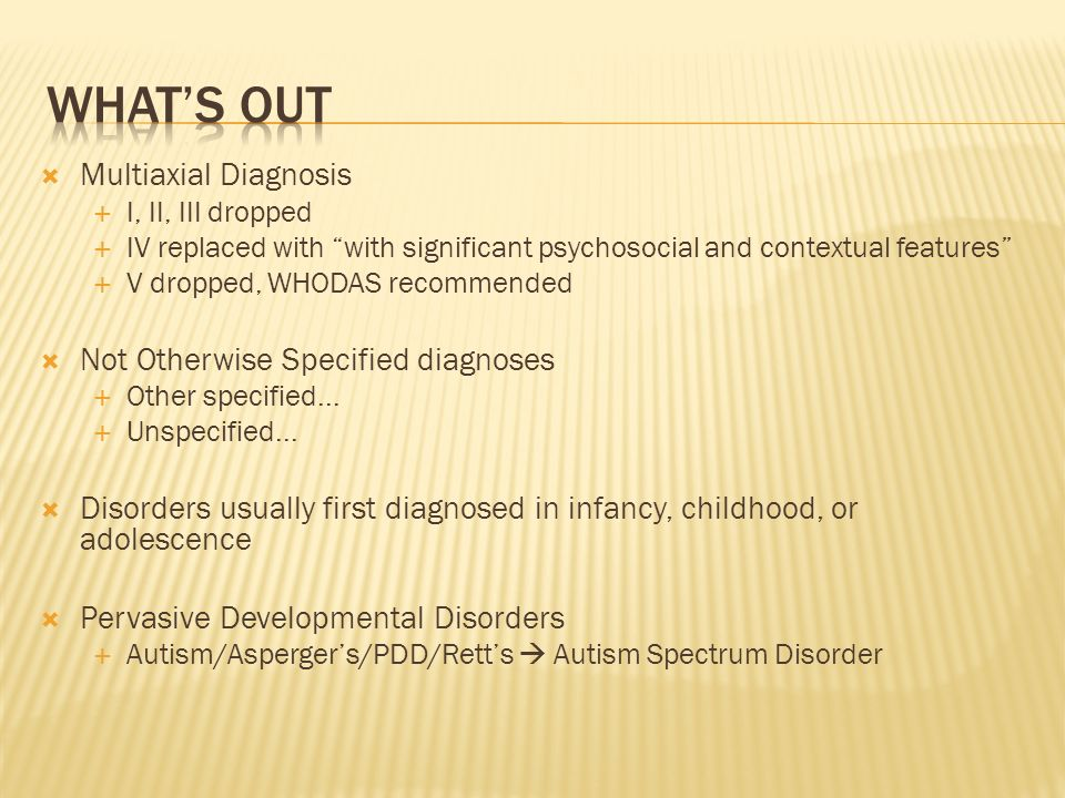 multiaxial diagnosis The diagnostic and statistical manual of mental disorders, fifth edition (dsm-5) has dropped the multiaxial diagnostic system and moved to a dimensional system of.