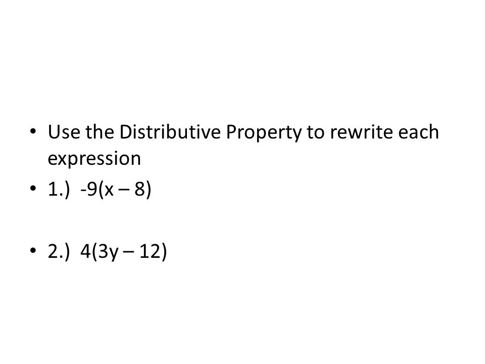 Applying the Distributive Property to Algebraic Expressions