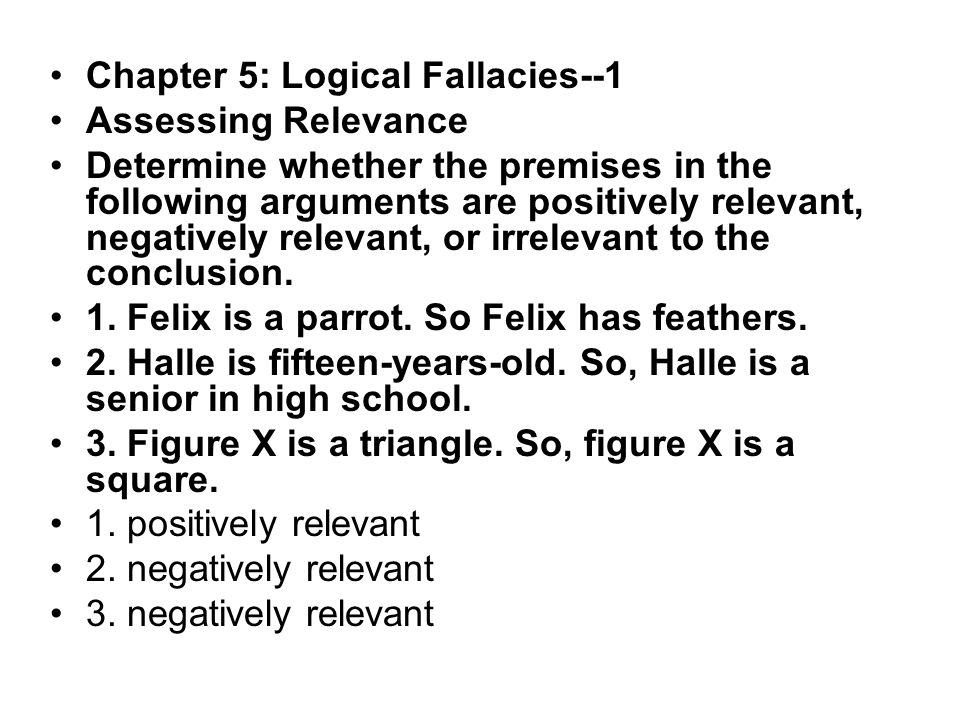 Chapter 5 Logical Fallacies I Fallacies of Relevance - ppt ...