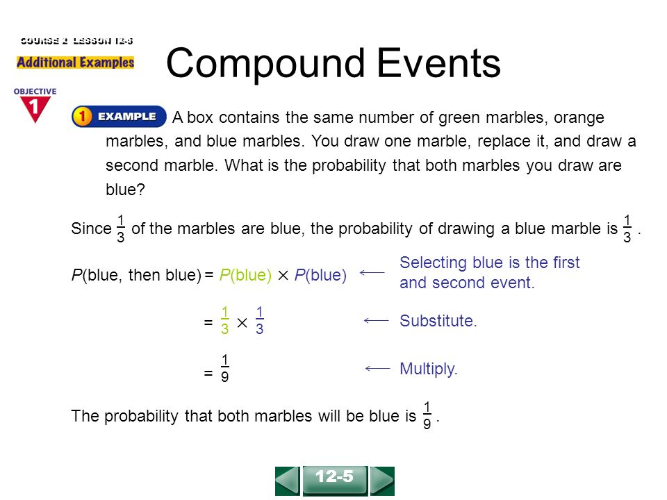 Colored Marbles For Probability Lesson : Compound events course lesson ppt video online download