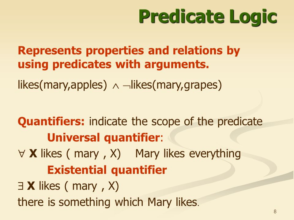 properties of predicate 2008-10-13 the syntax of predicate logic lx 502 – semantics i october 11, 2008 1  (entities) correspond to things in the world and their properties (predicates) predicate logic is an extension of propositional logic not a replacement.