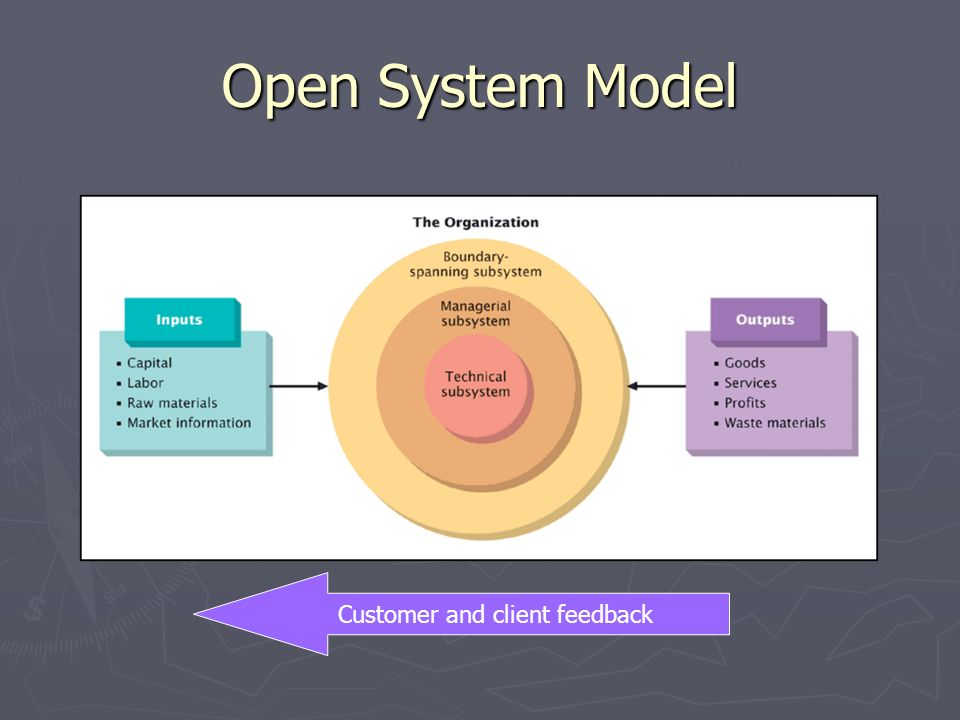 Open System Model Customer and client feedback