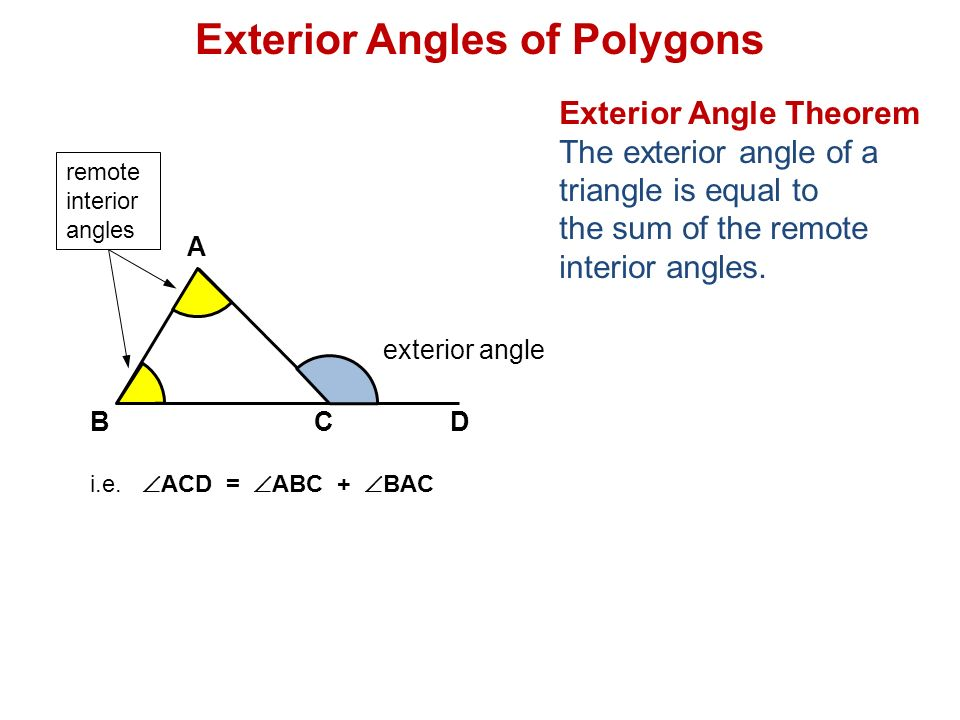 Remote interior angle of a polygon definition