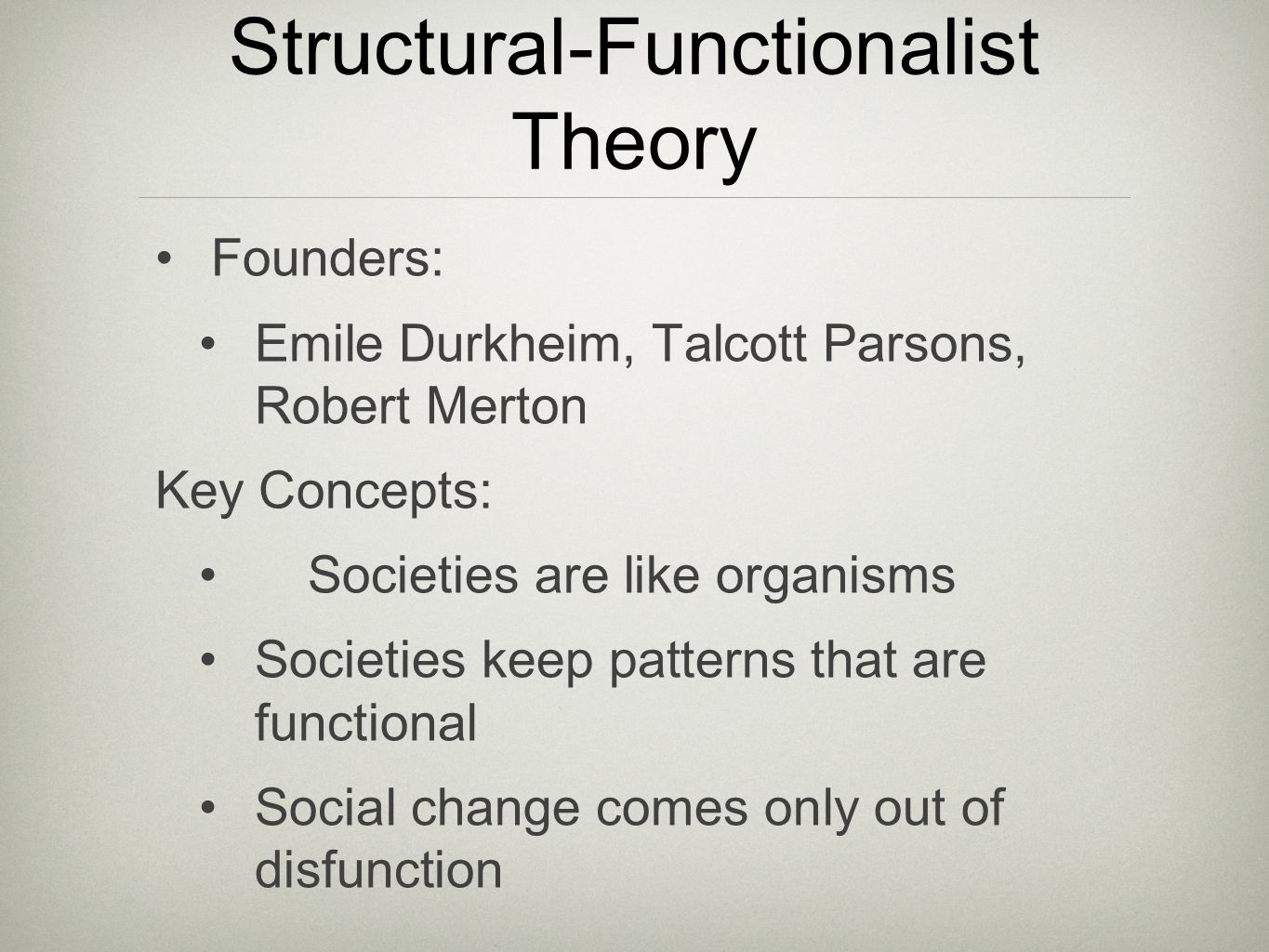 structural and functional theory applied to families The structural functionalist approach in sociology is a  understanding of the structural functional  functionalism can be applied to nearly all.