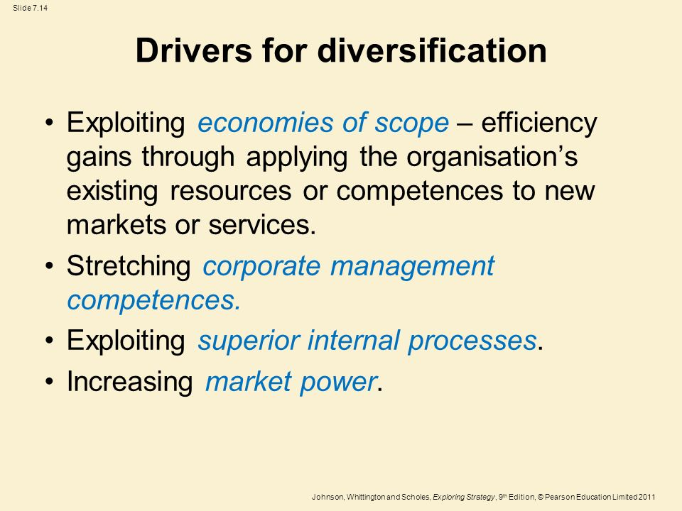 Describes a conglomerate diversification strategy