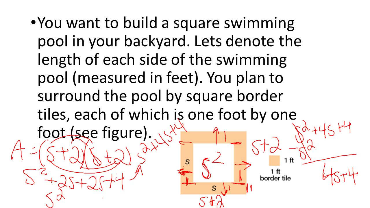 Lesson ppt video online download for Average square footage of a swimming pool