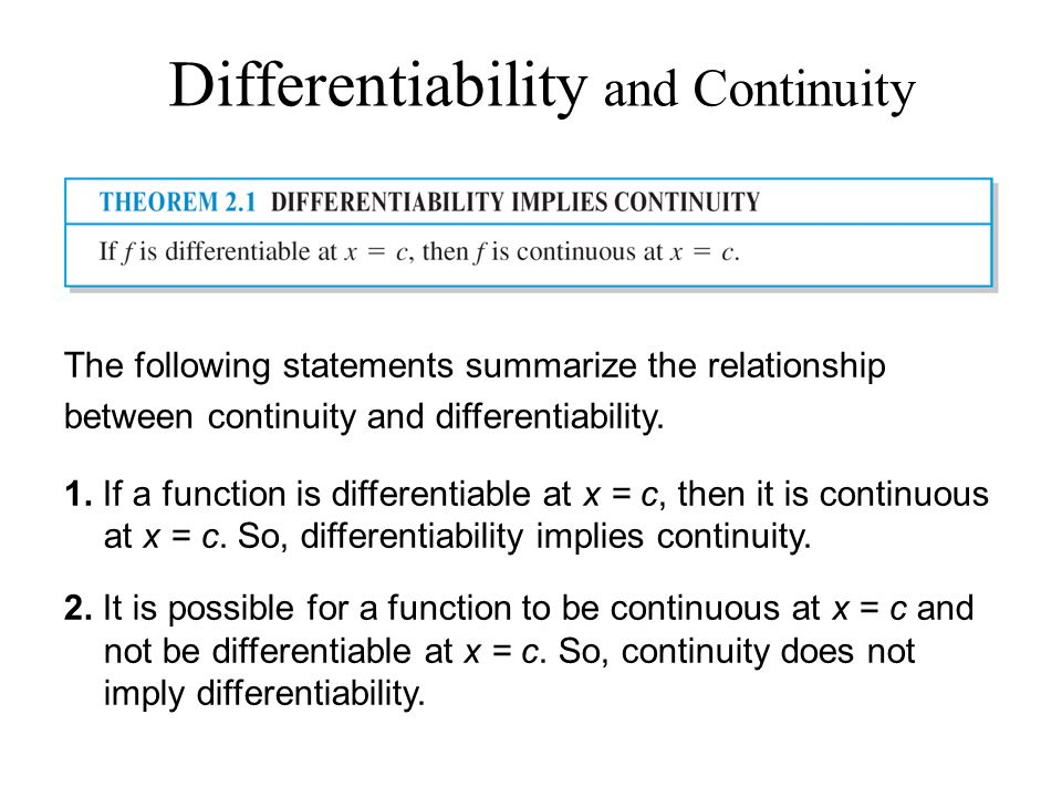 relationship between differentiable and continuous functions