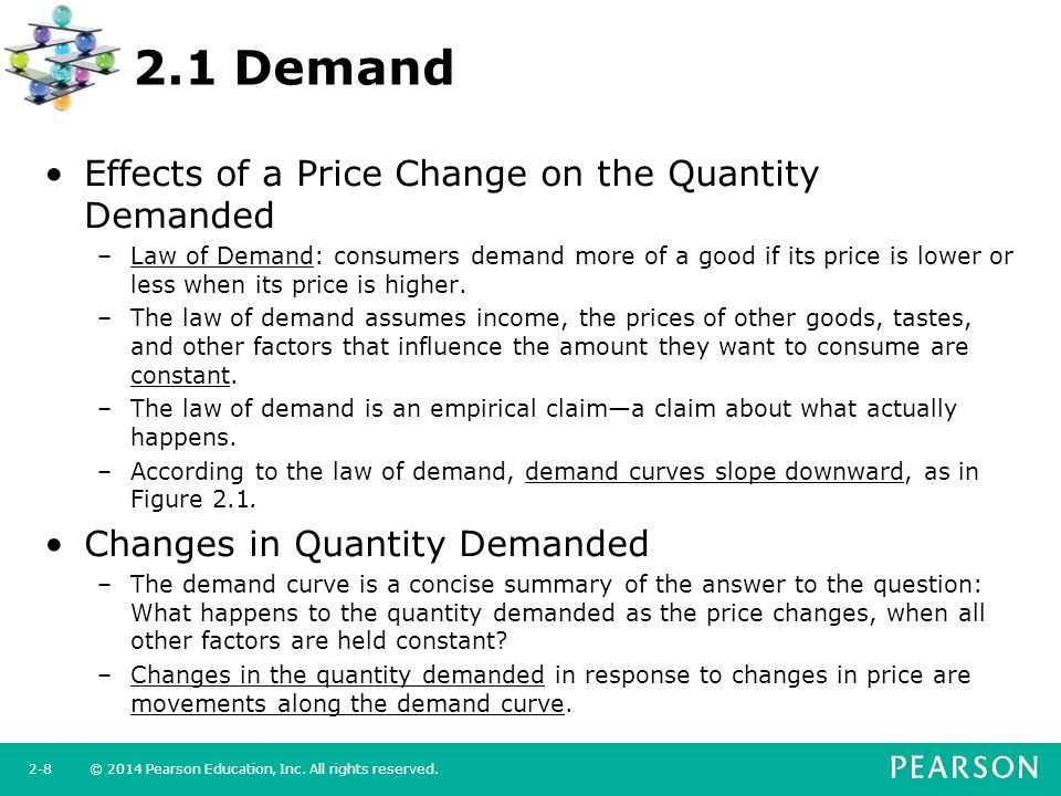 the definition of demand and its effects on the price changes Law of demand indicates the inverse relationship between price and quantity  demanded of a commodity  thus with the increase in price, demand increases   solely by its price and nothing else, then they tend to buy  tend to demand  more because of demonstration effect.