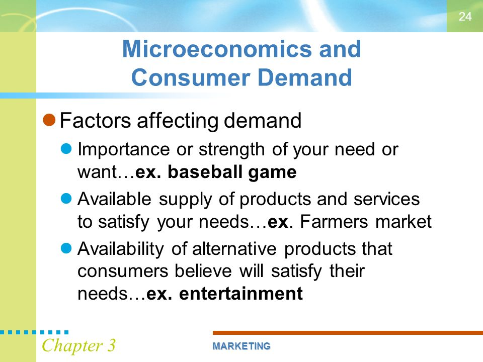 factors affecting consumer demands Some factors affecting demand include the appeal of a good or service, the availability of competing goods, the availability of financing and the perceived availability of a good or service.