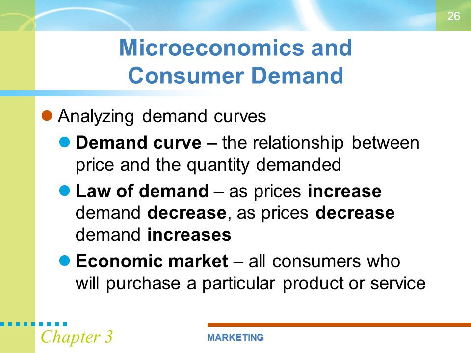 relationship between marketing and consumer demand Marketing ch 1 practice test  the societal marketing concept seeks to establish a balance between consumer short-run wants and consumer _____  relationship.
