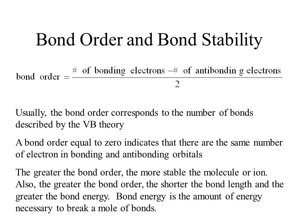 bond order and energy relationship