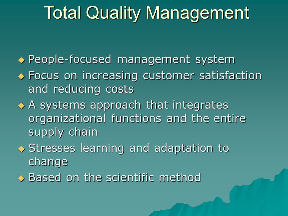 the three core principles of total quality customer focus participation and teamwork and continuous  Thus, the core principles of tqm that should be involved are customer focus,  leadership, teamwork, employee participation, continuous quality improvement,   in healthcare services there are three definitions distinguished tqm from other .