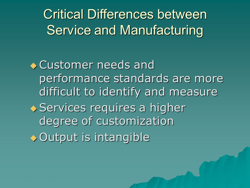 difference between manufacturing and service locations Depending on how you operate your business you can be a service, merchandising or manufacturing  learn about the three.