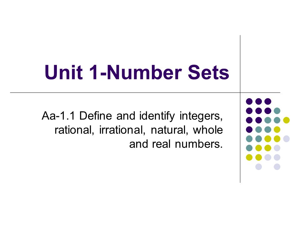 Unit 1-Number Sets Aa-1.1 Define and identify integers, rational, irrational, natural, whole and real numbers.