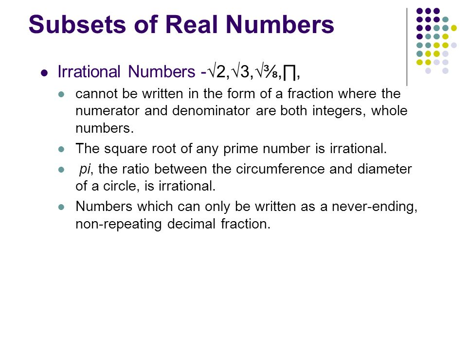 Subsets of Real Numbers