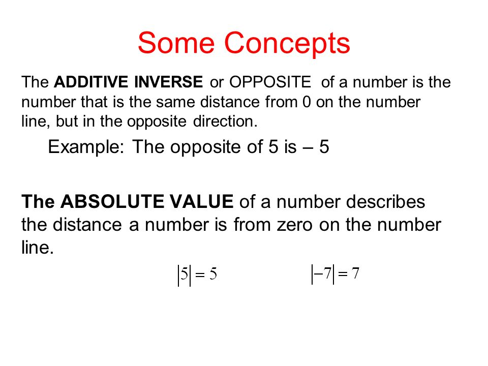 Some Concepts Example: The opposite of 5 is – 5
