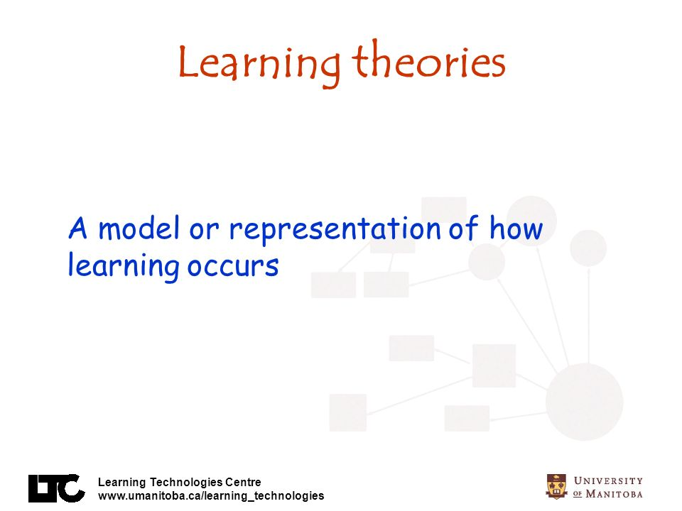 Learning theories A model or representation of how learning occurs