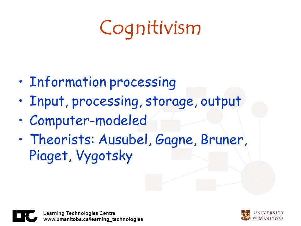 Cognitivism Information processing Input, processing, storage, output