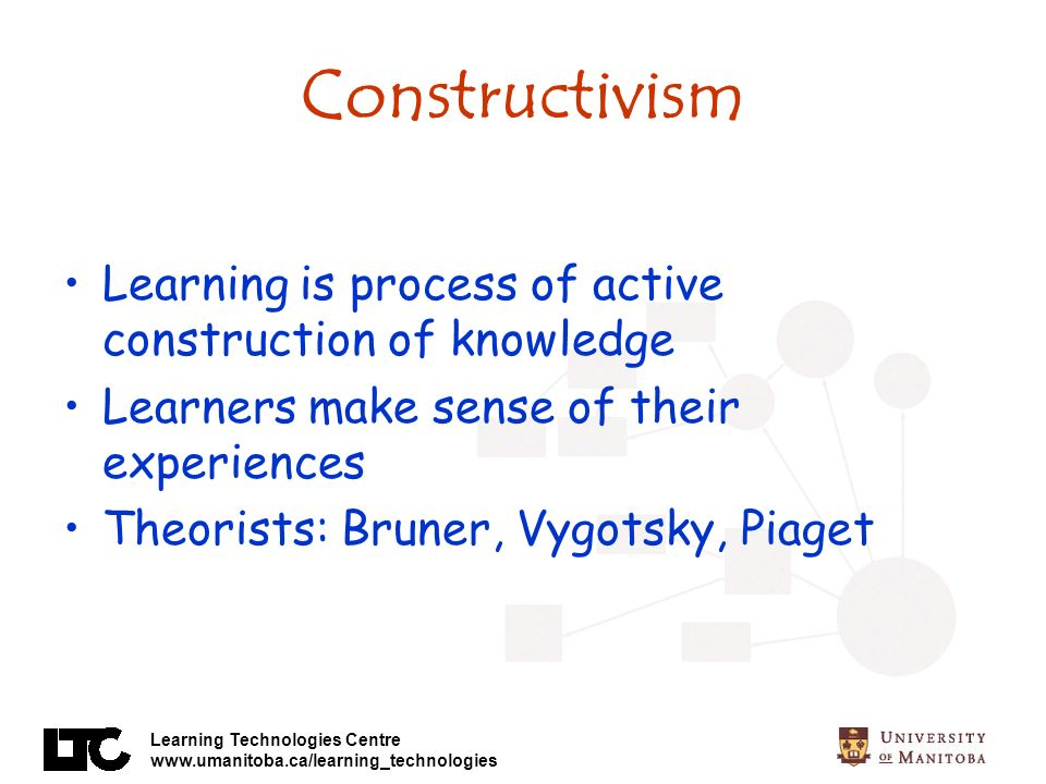 Constructivism Learning is process of active construction of knowledge