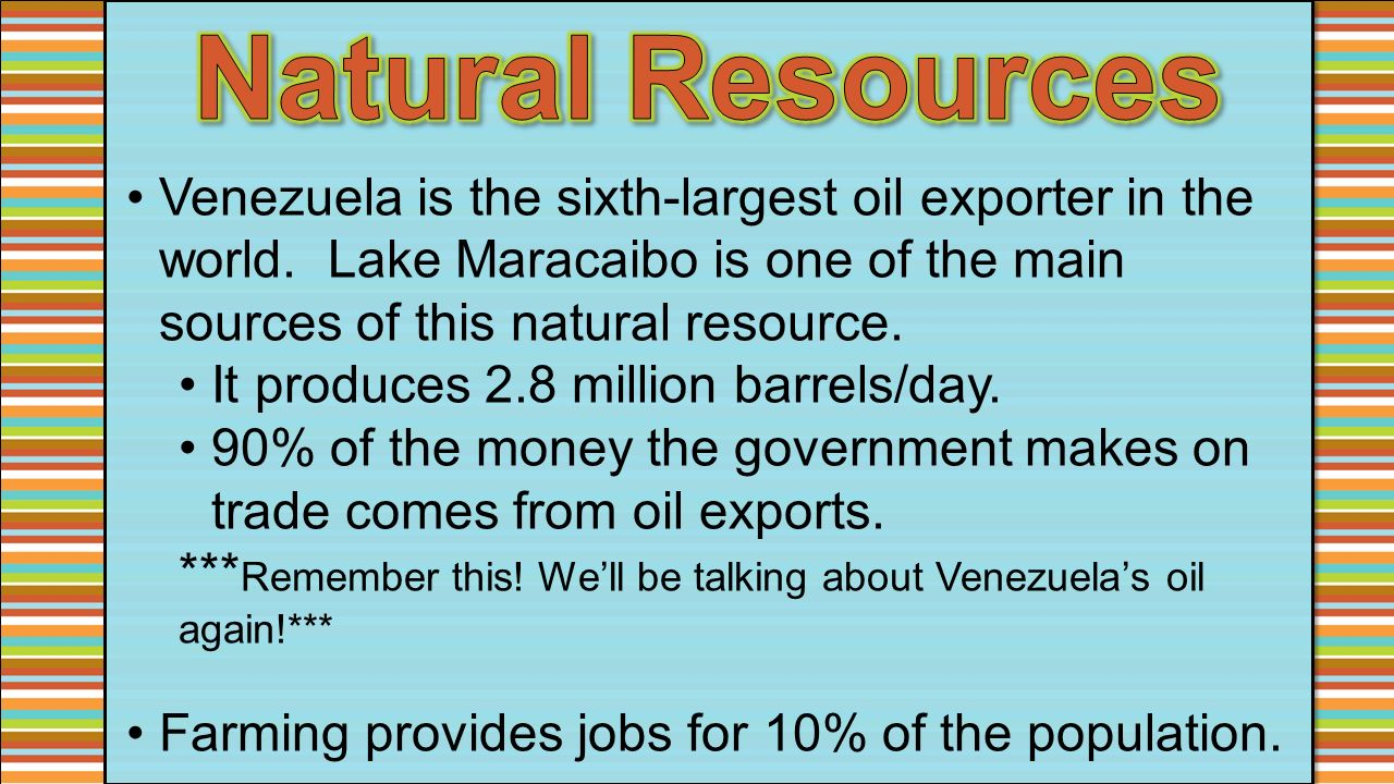 Natural Resources In Venezuela