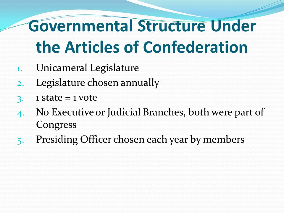 the articles of confederation its structure and problems