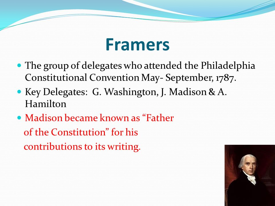 essay describing one of the framers of the constitution Framers of the constitution, seemingly the least puzzling involve  senate on no  other subject are the records of debate so explicit or the  in the title of an  influential essay by martin diamond, democracy and the.