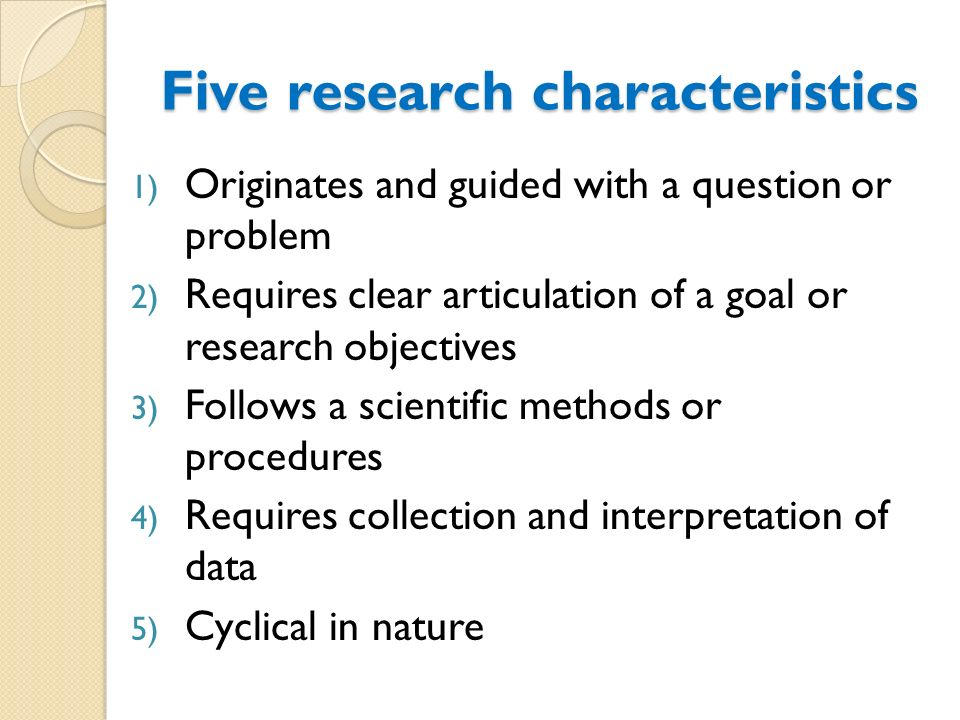 five scientific methods of research