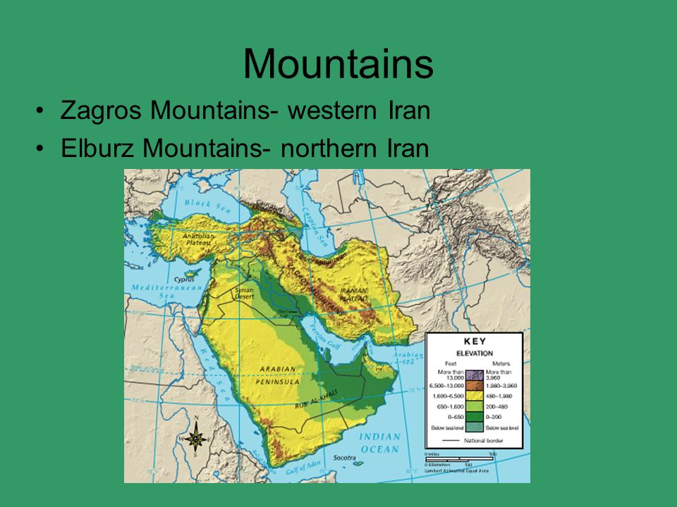 Elburz mountains physical map