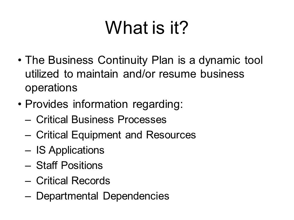 business continuity resumes