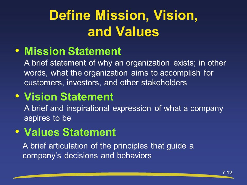 Define Mission, Vision, and Values