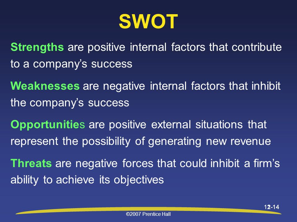 SWOT Strengths are positive internal factors that contribute to a company's success.
