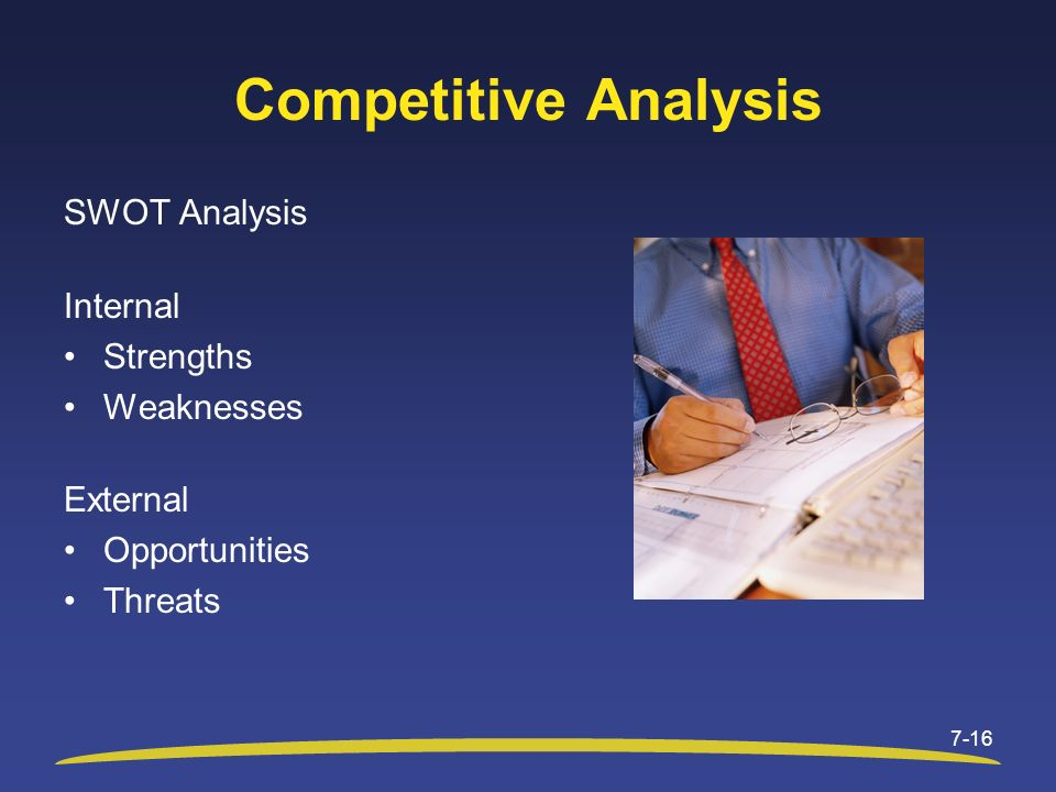 Competitive Analysis SWOT Analysis Internal Strengths Weaknesses