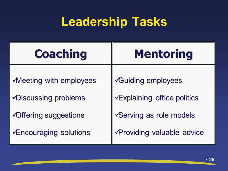 Leadership Tasks Coaching Mentoring Meeting with employees