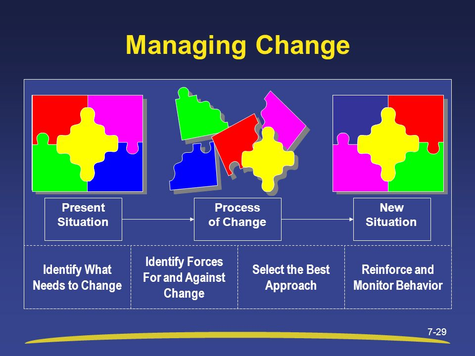 Managing Change Identify What Needs to Change Identify Forces