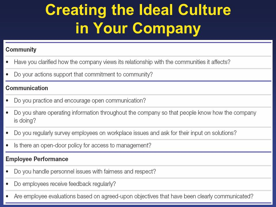 Creating the Ideal Culture in Your Company