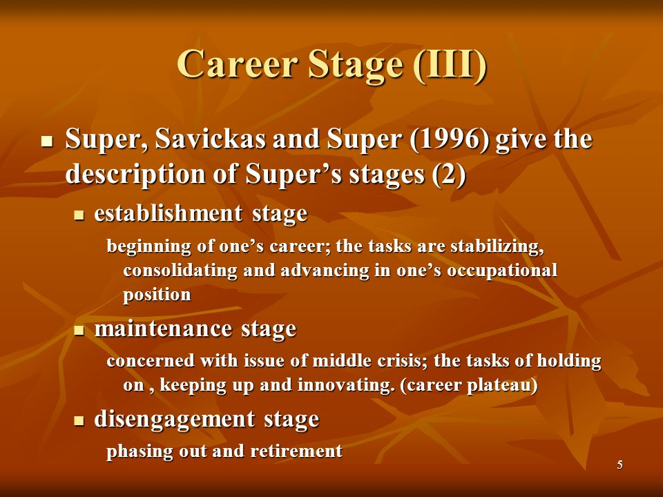 supers theory on establishment stage of career development Super's theory of life career rainbow (lcr) segment the lcr feature is useful  for  different life stages: growth, exploration, establishment, maintenance, and.