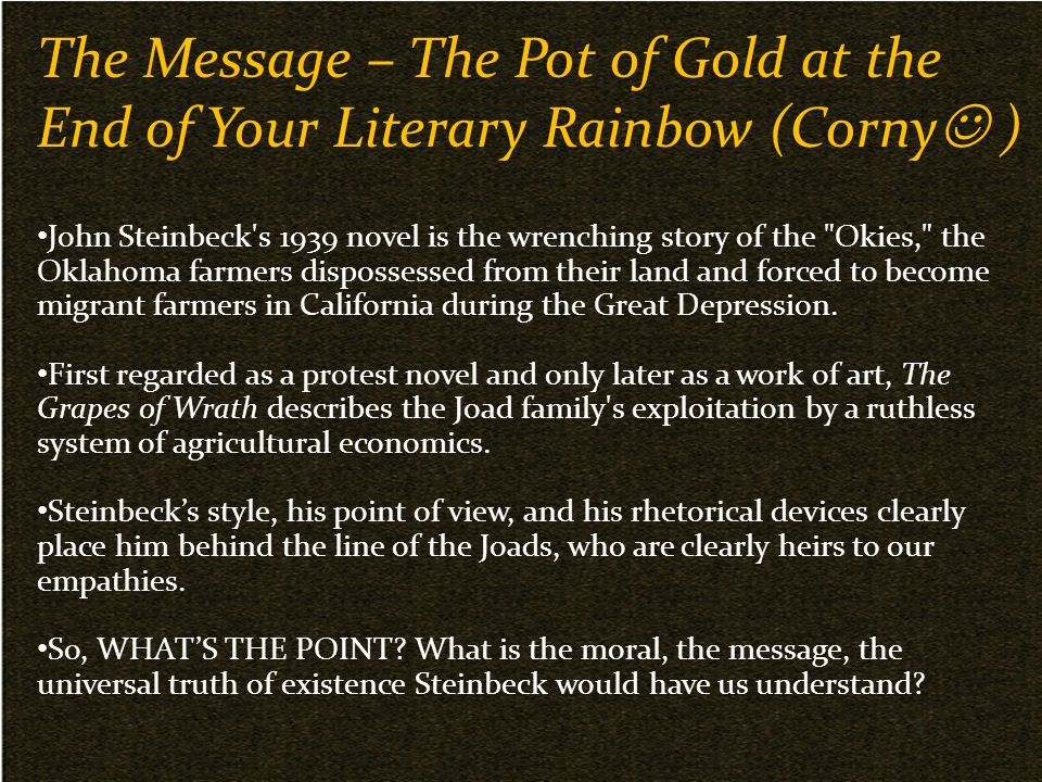 influences of the great depression on the work of john steinbeck John steinbeck the remain among the most indelible images of america during the great depression the depression this work was done entirely by.